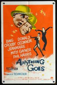 t027 ANYTHING GOES one-sheet movie poster '56 Bing Crosby, Donald O'Connor, Cole Porter