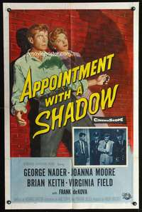 t030 APPOINTMENT WITH A SHADOW one-sheet movie poster '58 George Nader, cool noir image!