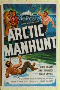t033 ARCTIC MANHUNT one-sheet movie poster '49 Mikel Conrad in Alaskan bullwhip fight!