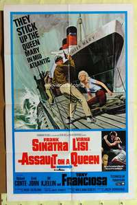 t035 ASSAULT ON A QUEEN one-sheet movie poster '66 Frank Sinatra, Virna Lisi, cool artwork!
