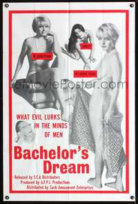t038 BACHELOR'S DREAM one-sheet movie poster '67 they're the evil that lurks in the minds of men!