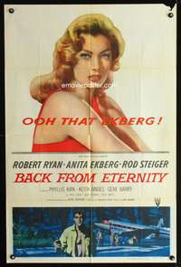 t039 BACK FROM ETERNITY one-sheet movie poster '56 ooh that sexy Anita Ekberg!