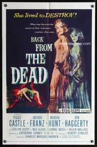 t040 BACK FROM THE DEAD one-sheet movie poster '57 Peggie Castle lived to destroy!