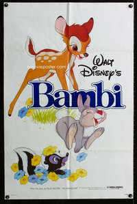 t042 BAMBI one-sheet movie poster R82 Walt Disney cartoon deer classic!