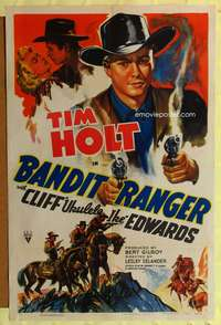 t043 BANDIT RANGER one-sheet movie poster '42 artwork of Tim Holt with two smoking guns!