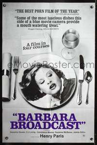 t045 BARBARA BROADCAST one-sheet movie poster '77 sexy Annette Haven on dinner plate, Radley Metzger