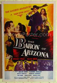t048 BARON OF ARIZONA one-sheet movie poster '50 Samuel Fuller, Vincent Price