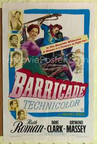 t049 BARRICADE one-sheet movie poster '50 Jack London, Ruth Roman is a treasure to fight for!
