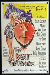 t050 BEAT GENERATION one-sheet movie poster '59 sexy artwork of Mamie Van Doren, beatniks!