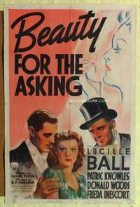 t052 BEAUTY FOR THE ASKING one-sheet movie poster '39 great artwork of young pretty Lucille Ball!