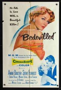 t054 BEDEVILLED one-sheet movie poster '55 artwork of beautiful killer Anne Baxter!