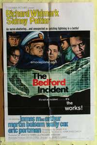 t055 BEDFORD INCIDENT one-sheet movie poster '65 Richard Widmark, Sidney Poitier