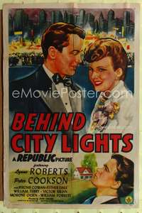 t057 BEHIND CITY LIGHTS one-sheet movie poster '45 Lynne Roberts, cool artwork!