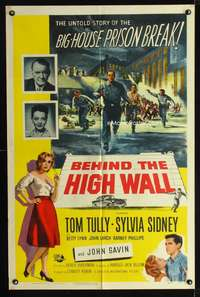 t058 BEHIND THE HIGH WALL one-sheet movie poster '56 Tom Tully, prison escape artwork!