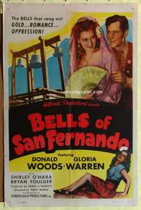 t059 BELLS OF SAN FERNANDO one-sheet movie poster '47 Donald Woods, sexy Gloria Warren!