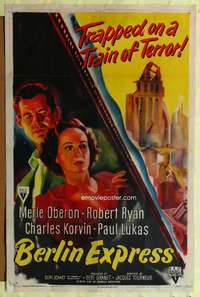 t060 BERLIN EXPRESS one-sheet '48 Merle Oberon & Robert Ryan are trapped in a train of terror!