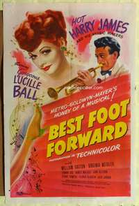 t061 BEST FOOT FORWARD style D one-sheet '43 great art of gorgeous Lucille Ball & hot Harry James!