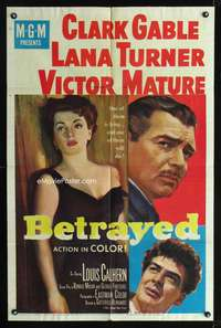 t062 BETRAYED one-sheet movie poster '54 Clark Gable, Victor Mature, sexy Lana Turner!