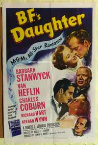 t036 B.F.'S DAUGHTER one-sheet movie poster '48 Barbara Stanwyck, Van Heflin, Charles Coburn