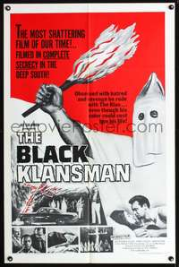 t068 BLACK KLANSMAN one-sheet movie poster '66 wild image of black man in KKK outfit!
