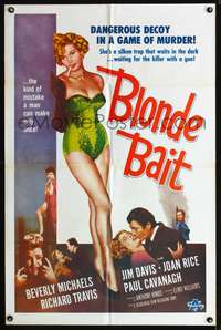 t069 BLONDE BAIT one-sheet movie poster '56 sexy smoking bad girl Beverly Michaels is a silken trap!