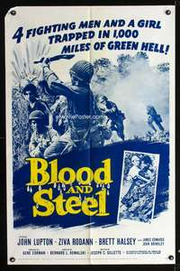 t071 BLOOD & STEEL one-sheet movie poster '59 trapped in 1,000 miles of green hell!