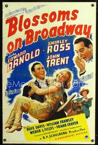 t072 BLOSSOMS ON BROADWAY one-sheet movie poster '37 Edward Arnold, Shirley Ross, musical!
