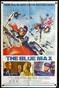 t073 BLUE MAX one-sheet movie poster '66 George Peppard, James Mason, WWI fighter pilot artwork!