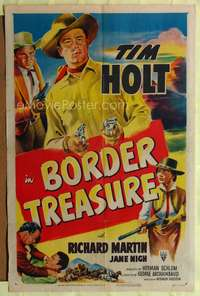 t077 BORDER TREASURE one-sheet movie poster '50 cool artwork of Tim Holt with two guns!