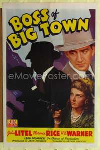 t080 BOSS OF BIG TOWN one-sheet movie poster '42 John Litel, Florence Rice, gangsters!