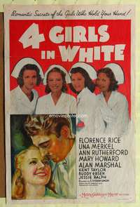 t006 4 GIRLS IN WHITE one-sheet movie poster '39 pretty nurses who hold your hand, stone litho art!!
