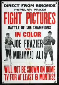 t001 JOE FRAZIER VS MUHAMMAD ALI FIGHT PICTURES one-sheet poster '71 boxing battle of the champions!