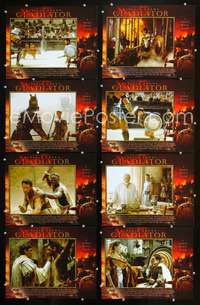 v216 GLADIATOR 8 movie lobby cards '00 Russell Crowe, Joaquin Phoenix
