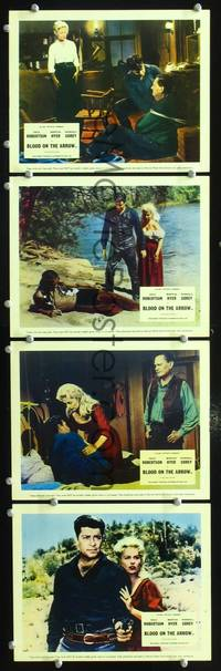 y027 BLOOD ON THE ARROW 4 English Front of House movie lobby cards '64 Robertson