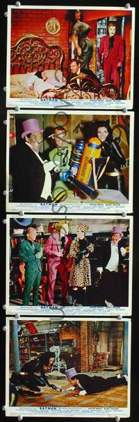 y025 BATMAN 4 English Front of House movie lobby cards '66 Adam West, villains!