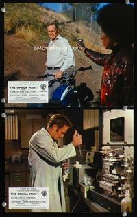 y041 OMEGA MAN 2 English Front of House movie lobby cards '71 Charlton Heston