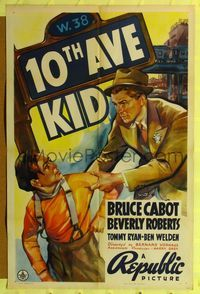 b019 10th AVE KID one-sheet movie poster '37 art of Bruce Cabot & Tommy Ryan in Hell's Kitchen!