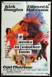 b023 2 WEEKS IN ANOTHER TOWN one-sheet '62 cool art of Kirk Douglas & Cyd Charisse by Bart Doe!