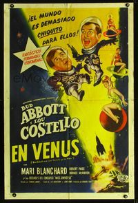 b009 ABBOTT & COSTELLO GO TO MARS Spanish/U.S. one-sheet '53 art of astronauts Bud & Lou in outer space!