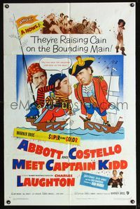 b011 ABBOTT & COSTELLO MEET CAPTAIN KIDD one-sheet poster '53 pirates Bud & Lou, Charles Laughton!