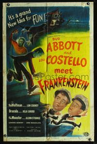 b003 ABBOTT & COSTELLO MEET FRANKENSTEIN one-sheet '48 and also the Wolfman & Dracula, cool art!