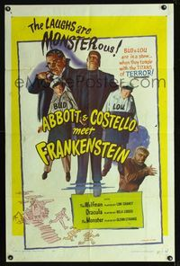 b004 ABBOTT & COSTELLO MEET FRANKENSTEIN one-sheet R56 completely different image from the original!