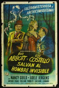 b008 ABBOTT & COSTELLO MEET THE INVISIBLE MAN Spanish/U.S. one-sheet movie poster '51 cool artwork image!