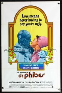 b027 ABOMINABLE DR. PHIBES 1sheet '71 Vincent Price says love means never having to say you're ugly!