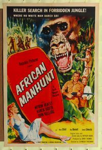 b029 AFRICAN MANHUNT one-sheet movie poster '54 in the forbidden jungle where no white man dared go!