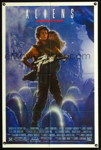 b035 ALIENS one-sheet movie poster '86 James Cameron, Sigourney Weaver, this time it's war!