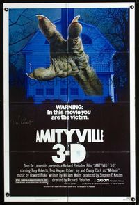 b043 AMITYVILLE 3D signed one-sheet movie poster '83 by Tony Roberts, cool monster horror image!