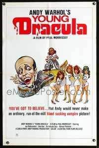 b044 ANDY WARHOL'S DRACULA one-sheet movie poster '74 wacky different Emmett sexy vampire art!