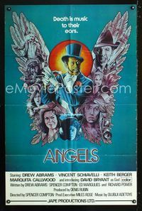 b045 ANGELS 1sh '76 Death is music to their ears, cool Melo artwork!