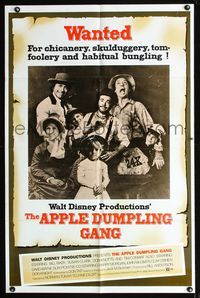b049 APPLE DUMPLING GANG one-sheet movie poster '75 Disney, Don Knotts, cool wanted poster design!